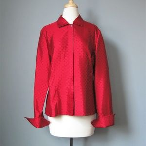 Talbots Silk Blouse Red Long Sleeve Buttondown